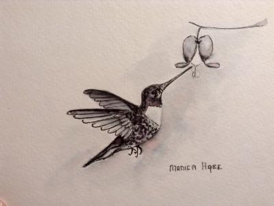Humming bird and bleeding heart