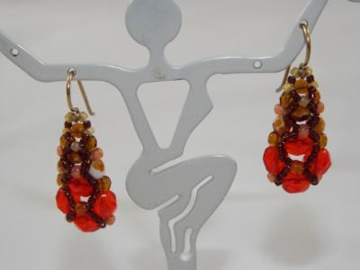 E-96 Orange Pyramid Earrings