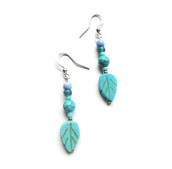 Boho turquoise leaf feather earrings