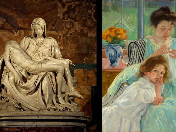 Michaelangelo sculpture and Marry Cassatt pastel