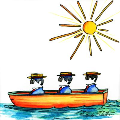 Three Men in a Boat # 1: Sunny & Clear