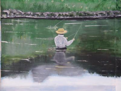 close-up of fly fisherman