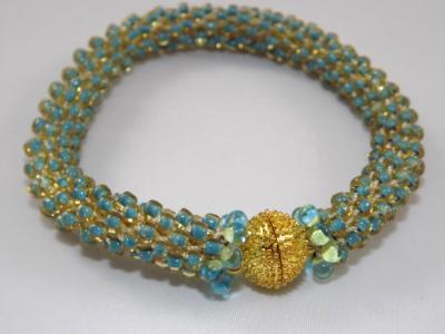 B-68 turquoise crocheted rope bracelet