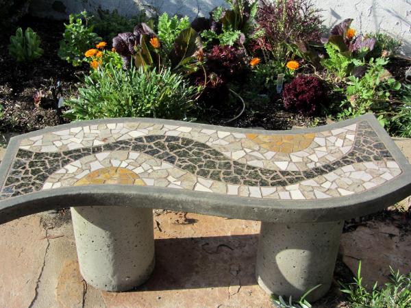 Garden bench julie boegli creative mosaic design for Mosaic designs garden