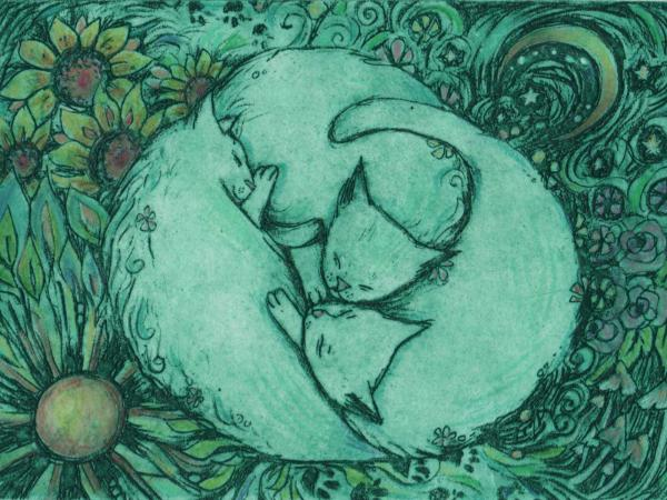 Sleeping Cats limited edition cat etching with solar plate