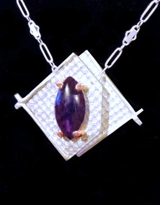 Two Layer Sterling and Amethyst Pendant