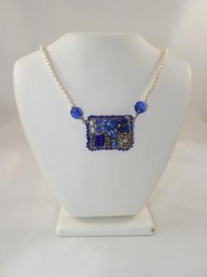 N-78 Blue Mosaic Necklace with Freshwater Pearl Straps