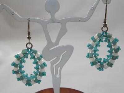 E-56 Aqua & Ivory Cube Bead Earrings