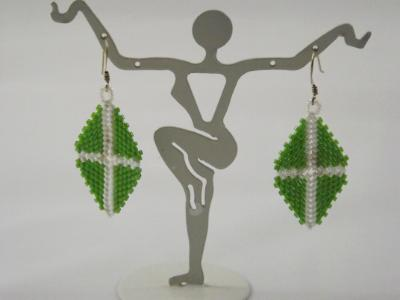 E-11 Green & White Triangle Earrings