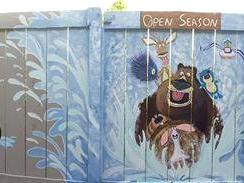 Bear & friends fence panoramic