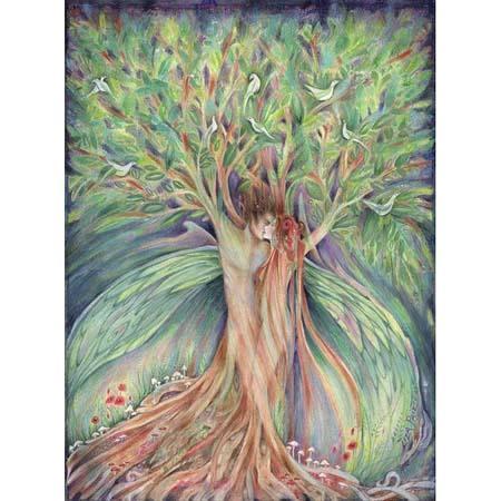 Tree Spirits Original Painting of Lovers in watercolor