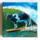 SURFING COW TAKES ONE AT STEAMER LANE
