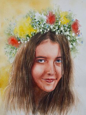 Custom portrait of a girl, 28cm x 38cm, 2018