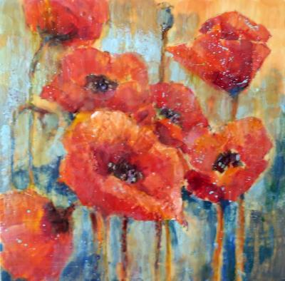 "Red Poppies 24"" x 24"" SOLD"