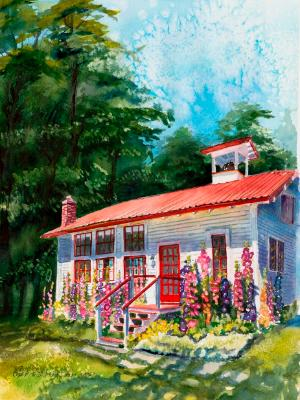 Mabana Schoolhouse & Hollyhocks