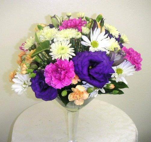 Wine glass floral arrangement