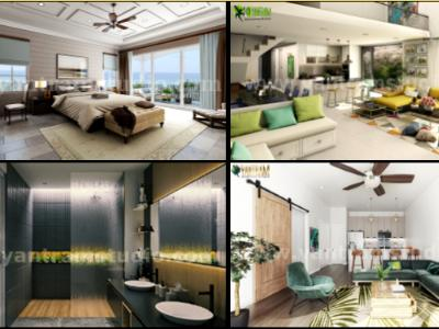 Contemporary Master Bedroom with Species Balcony 3d interior rendering services by architectural rendering company