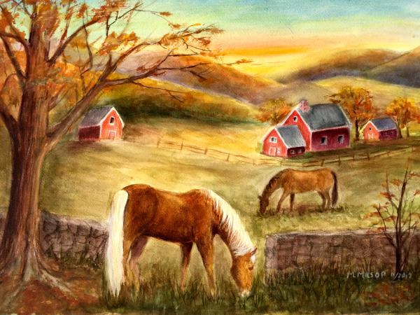 Horse Farm At Dawn Marilyn Milsop S Art Gallery