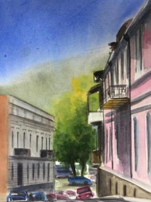 Plein air watercolor painting in Tbilisi-GEORGIA, 38cm x 28cm, 2019