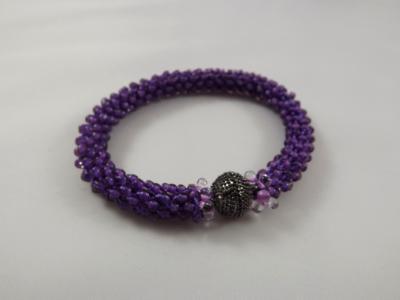 B-76 purple crocheted rope bracelet