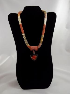 N-109 Peach Patchwork Crocheted Rope Necklace