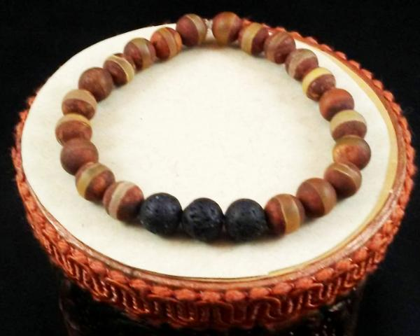 Tibetan Agate Dzi Bead Diffuser Bracelet, Aromatherapy Bracelet, Lava Bead Bracelet, Large