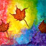 Autumn Bliss Colorful abstract painting on watercolorpaper