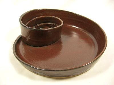 110821.L Spiral Chip-N-Dip with Iron Red Glaze