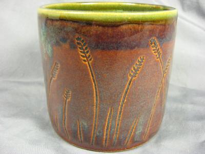 101122.A Wheat Design Utensil Crock/Pot Bread Baker