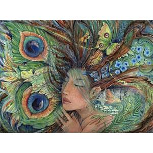 Green Lady fairy art print from the original painting by Liza Paizis