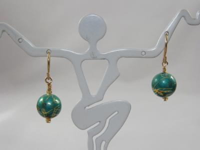 E-36 Teal & Gold Ball Earrings