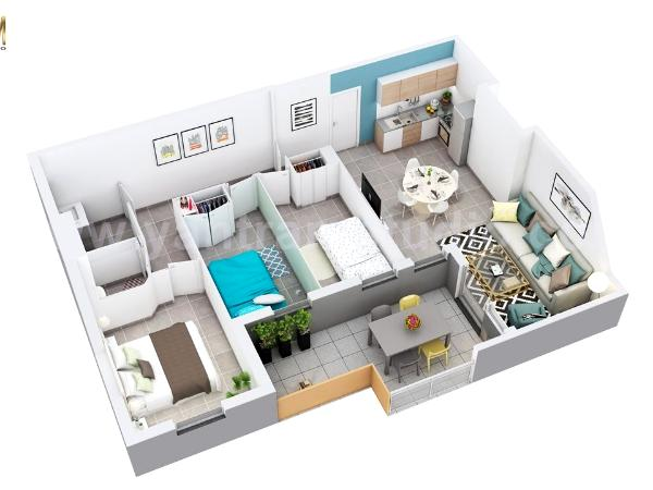 3D Floor Plan of Residential Apartment Layout