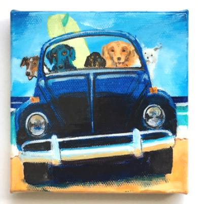 FIVE DOGS IN A BLACK BUG