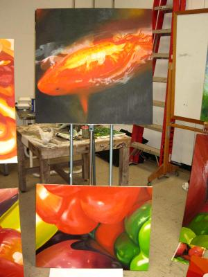 Beginning Painting (Oil) at UCSD, Color Exercise on Bottom, Final Project Top