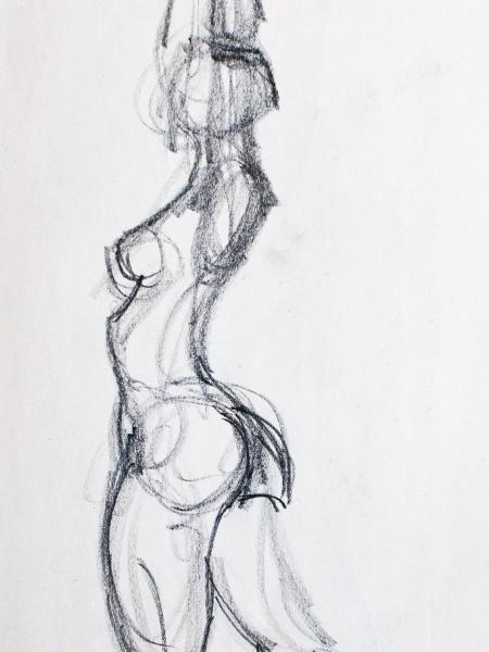 Female Nude Gesture, Arms Over Head