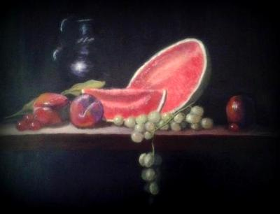 Still Life with Melon and Plums