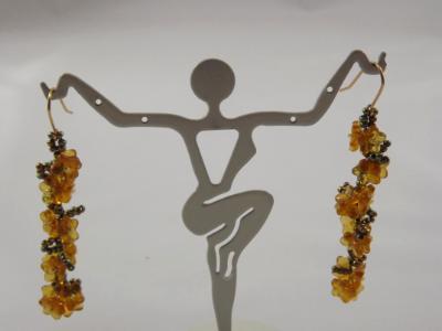 E-71 Golden Hydrangea Flower Beaded Earrings
