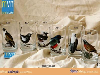 Set of handpainted glasses: BIRDS OF AFRICA