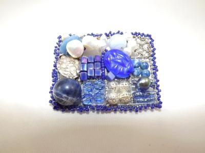 Shades of Blue Mosaic Brooch