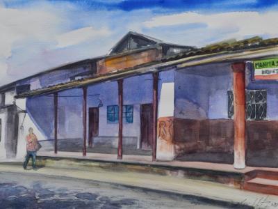 Plein air watercolor painting of San Antonio de Ibarra, 25cm x 35cm, 2018