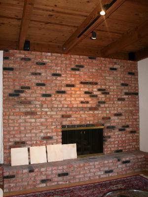 Before Fireplace Refinishing