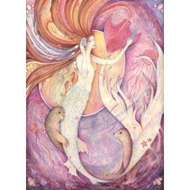 """""""Aqualina"""" mermaid note card"""