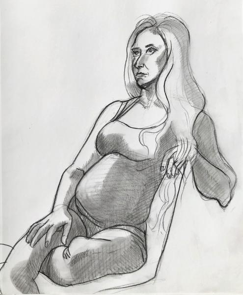 Danielle, Seated Figure Study