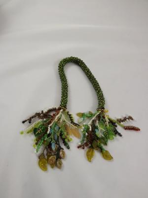 T-9 Sparkling Dark Olive Crocheted Tassel Rope