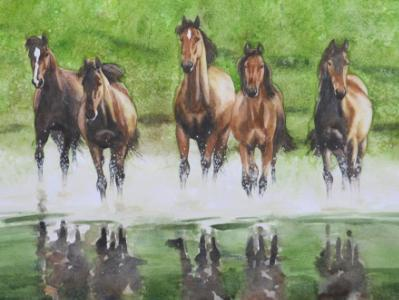Horses in the greennery, 35cm x 50cm, 2014