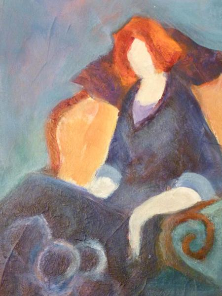 "Girl With Orange Hair ~ Inspired by Itzhak Tarkay 8"" x 16"""