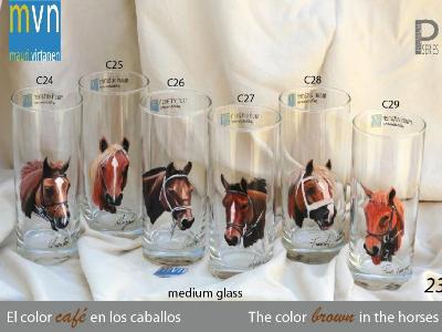 Set of handpainted glasses: BROWN HORSES