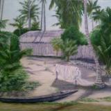 Fishing village hut; Lagos Nigeria. Acrylic on canvas. A3. Framed