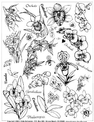 Orchid Rubber Stamps - Unmounted