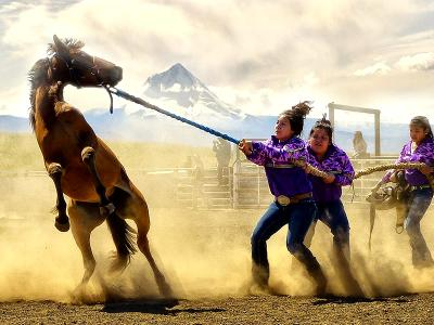 Tribal Traditions: Tygh Rodeo Girls' Wildhorse Race